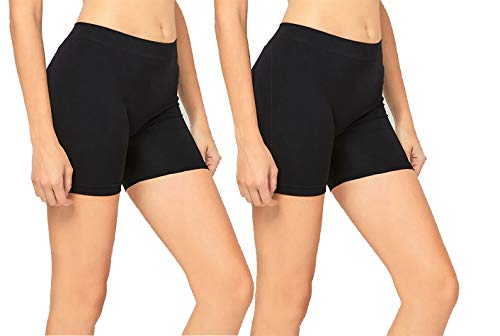 2 Pack Women's Seamless Stretch Yoga Exercise Shorts BLACK One Size