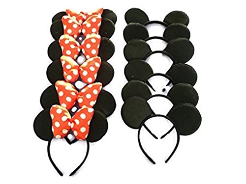 Mickey / Minnie Mouse ears bow headband for boys, girls, children birthday party and more! (Family Pack - 2 styles (12 pack)) - Bulk Minnie Mouse Ears