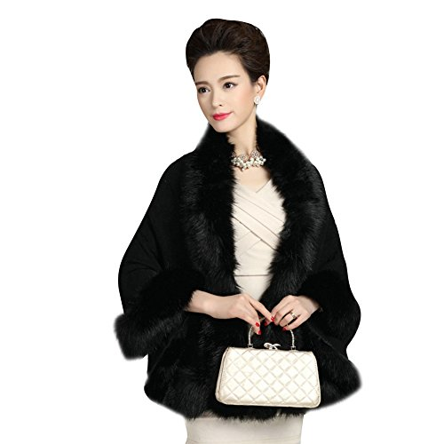Elfjoy Luxury Bridal Faux Fur Cashmere Wool Shawl Cloak Cape Wedding Dress Party Coat for Winter (Black) ()