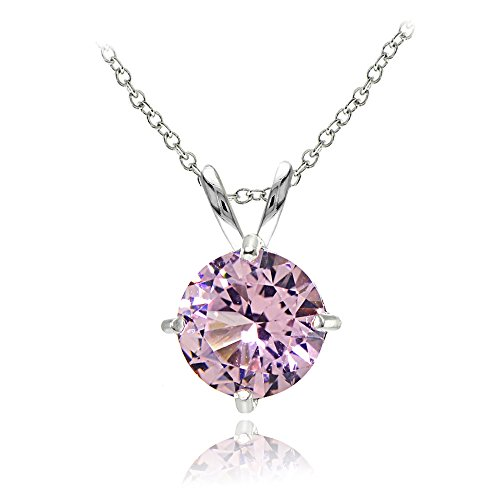 Sterling Silver Simulated Pink Tourmaline 7mm Round Solitaire Pendant Necklace