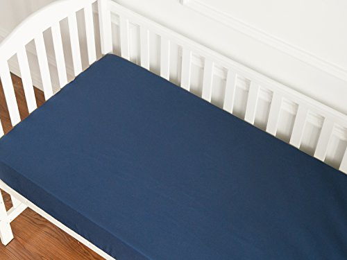 Navy Blue Crib Sheet, Microfiber Fitted Crib Sheet with Elastic, 28