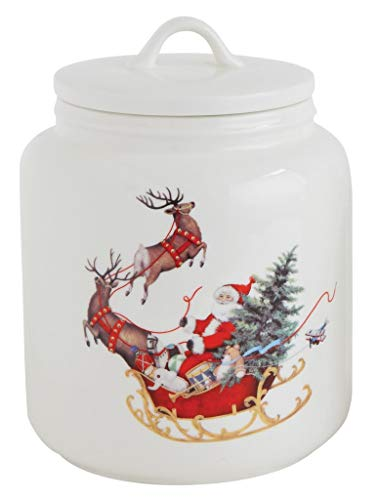Santa Sleigh & Reindeer Ceramic Cookie Jar ()