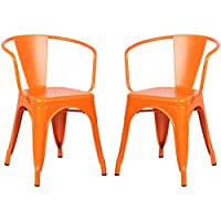 Poly and Bark Trattoria Arm Chair in Orange (Set of 2)