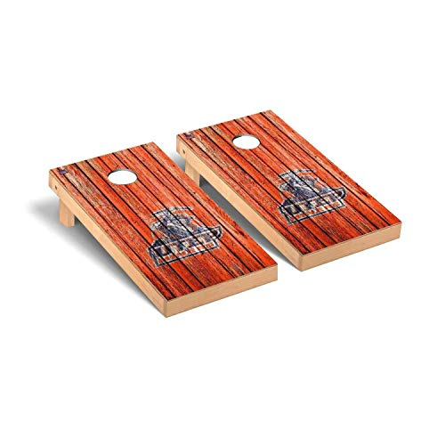 Victory Tailgate Regulation Collegiate NCAA Weathered Series Cornhole Board Set - 2 Boards, 8 Bags - Texas El Paso UTEP Miners (El Paso Board Game)