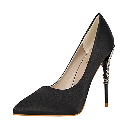 Manyis Sexy Women Party Shoes Stiletto Pointed-Toe High Heels Satin Pumps Metal Shoes Color Black Size: US6 eao9jieV