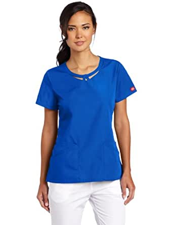 Dickies Women's Everyday Scrubs Junior Fit Round Neck Top, Royal, XX-Large