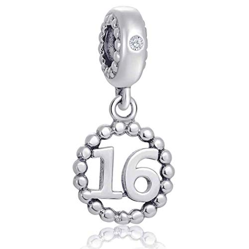 Number Bracelet Charms - 925 Sterling Silver Pendants/Beads Fit Pandora Charm Bracelets, Necklace, and European Snake Chain, Dangling/Dangle Charm for Birthday (Number 16)