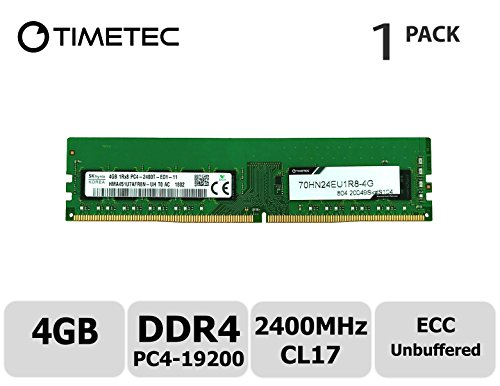 - Timetec Hynix 4GB DDR4 2400MHz PC4-19200 Unbuffered ECC 1.2V CL17 1Rx8 Single Rank 288 Pin UDIMM Server Memory RAM Module Upgrade (4GB)
