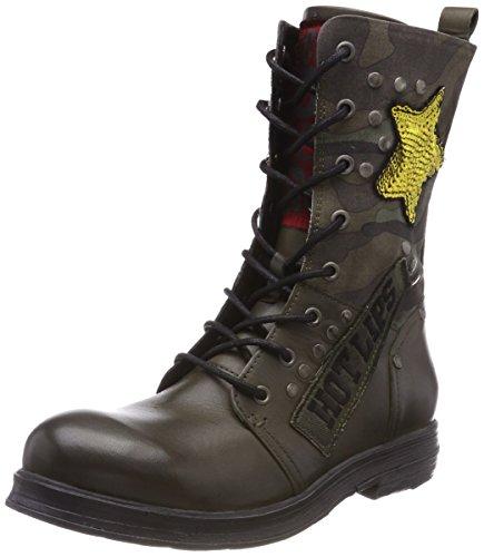 Replay Damen Creed Biker Boots Grün (Mil Grn)