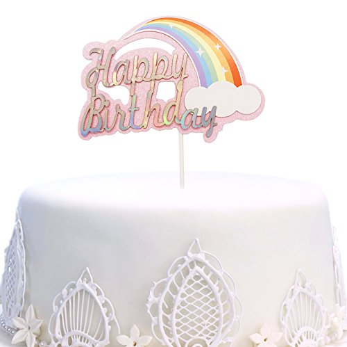 Happy Birthday Cake Topper, Rainbow Twinkle DIY Glitter First Birthday Cupcake Topper Cake Smash Candle Alternative Party Handmade (Pink)