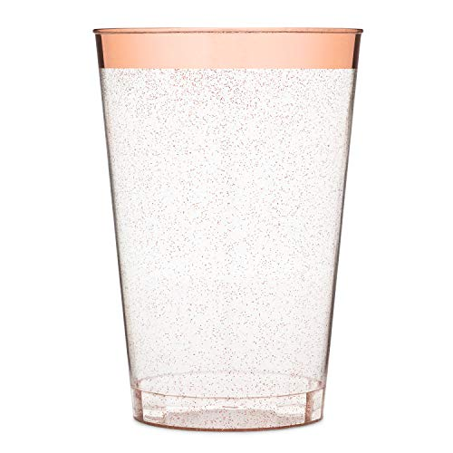 Diy Personalized Wine Glasses (Yuppie Celebrations 12oz Rose Gold Glitter Plastic Party Cups (50 Pack) Elegant Heavy-Duty Rose Gold Rim Disposable Wine Glasses - Plastic Tumbler Cups for Wedding, Fancy)