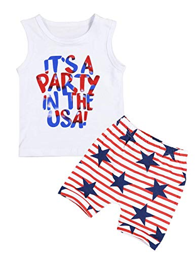 4th of July Baby Boy Summer Outfits Sleeveless T-Shirt and American Flag Stars Shorts Independence Day Clothes Sets - Toddler Star T-shirt