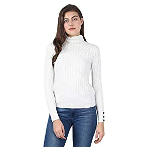MansiCollections Women's Viscose High-Neck Ribbed Off-White Sweater