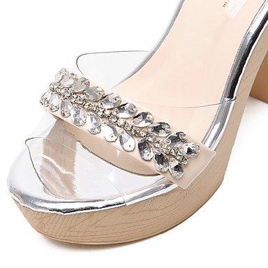 LvYuan Mujer-Tacón Robusto-Confort Zapatos del club-Sandalias-Vestido Informal Fiesta y Noche-Silicona-Negro Almendra Black