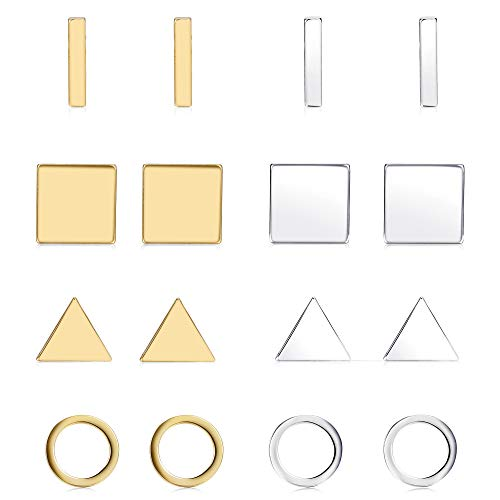 Finrezio 8 Pairs Silver&Gold Tone Geometric Stud Earrings for Women Men Bar Round Triangle Square Earring Set Stackable Fashion Jewelry ()