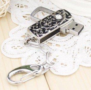 Black Silver Design Crystal keychain