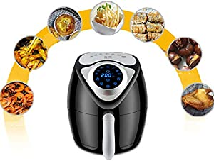 PBY Crisp Electric Air Fryer + Oven Cooker with Temperature Control, Non Stick Fry Basket,with One-Touch Digital Controls,Recipe Guide + Auto Shut Off Feature,Black