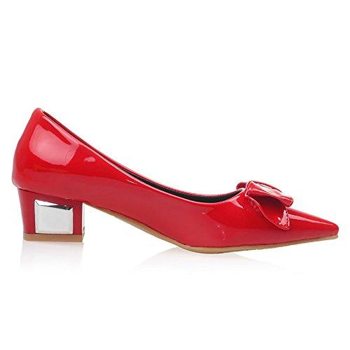 Fiocco Tacco Donna Red Scarpe Moda TAOFFEN con 4wgvqxOTg