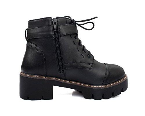 AgooLar Damen Schnüren Mittler Absatz PU Gemischte Farbe Rund Zehe Stiefel, Schwarz, 43