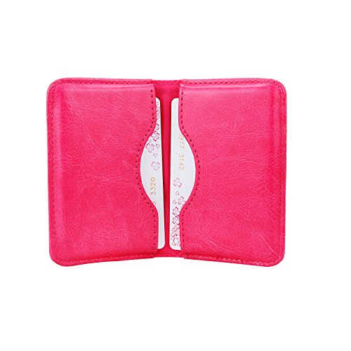 Business Card Holder, Wisdompro 2-Sided PU Leather Folio Professional Name Card Holder Wallet Case/Organizer with Magnetic Shut for Men and Women, Ultra Slim and Thin - Hot Pink