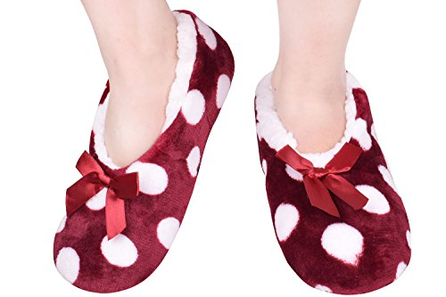 JIERKU Adult Plush Slippers Cold Weather Slippers Indoor Slipper Boots Size9-11 Red