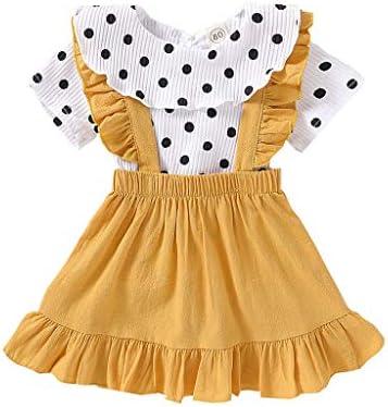 sunnymi Bekleidungssets für Baby-Mädchen,0-4 Jahre Kleinkind Baby Mädchen Rüschen Dot T-Shirt Tops + Solid Strapsröcke...