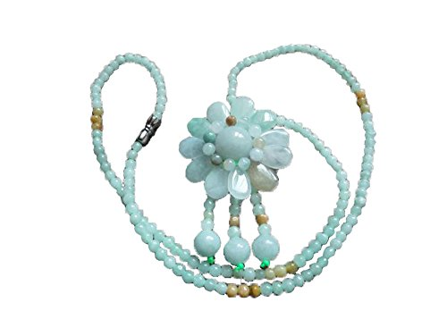 fashion Fine Natural Jadeite Jade Hand Carved sun flower Female Pendant necklace