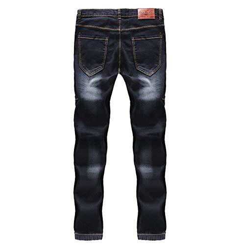 Ssige Dei Pantaloni Fit Nero I Morbido Jeans Denim Patchwork Moda Ansimano Uomo Giovane Slim Vintage Allungano wq66fnTPX