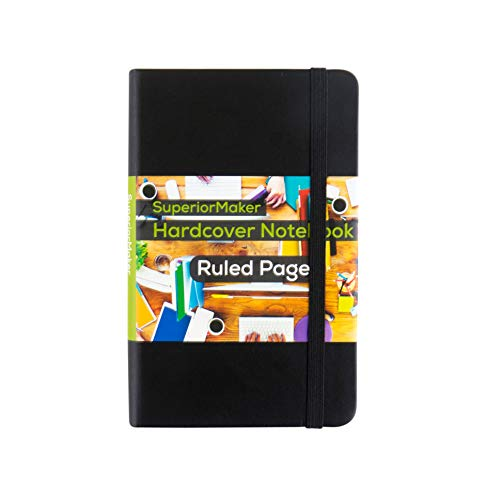 Small Pocket Notebook, Black Leather Bound, Hardcover Bound Many Page Journal, Mini Premium Paper Sticker Notepad, Elastic Closure, College Ruled/Lined, for Kids and Adults, 3.5 x 5.5in