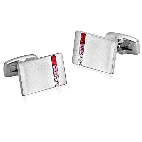 - KnSam Stainless Steel Red Pink White Rectangle Cubic Zirconia Crystal Cufflinks for Mens Shirt Stud