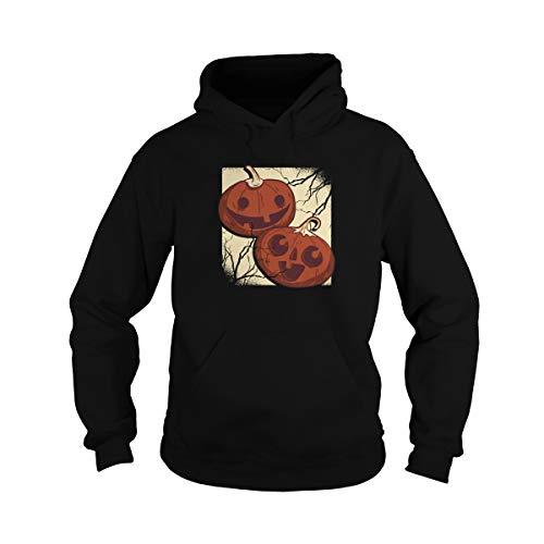 Unisex Carved Pumpkins Smiling Jack-o-Lanterns Hoodie (S, Black)
