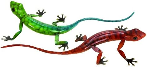 Deco 79 98386 Metal Lizard, Set of 2