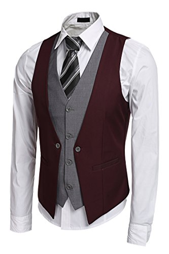 3296a0f9ada Gotchicon Mens Slim Fit Business Suit Dress Vest Layered Fashion Party  Wedding Vest
