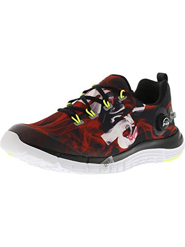 Reebok Men's Z Pump Fusion Flame Black/Red White Yellow Ankle-High Fabric Running Shoe - 6M
