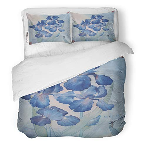 - Semtomn Decor Duvet Cover Set King Size Blue Irises and Dragonflies in The Garden are Watercolor 3 Piece Brushed Microfiber Fabric Print Bedding Set Cover