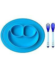 CoWalkers Juego de alimentación de silicona, manteles individuales para tazón con ventosas más cucharas y tenedor, para bebés, niños pequeños y niños