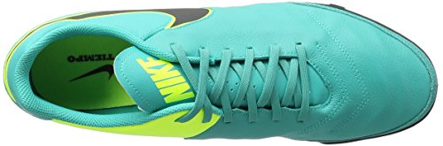 Nike Herren Tiempo Genio II Leather TF Fußballschuhe Blau (Clear Jade/Black-Volt)
