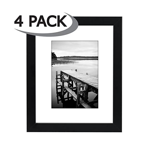 Americanflat 4 Piece Black Picture Frame Set | Displays 8x10 inch Photos. Shatter-Resistant Glass. Hanging Hardware Included! - Design: Black 8x10 inch picture frames; comes with a white beveled mats and hanging hardware for hassle-free display in both horizontal and vertical formats to hang flat against the wall; includes easel stands for tabletop or desktop display Material: Wood frames with polished shatterproof glass fronts that give clear views of your photos Quality: Durable, gallery-style frames; the frame fronts have clear shatterproof glass and sturdy backboards to keep the photos in place - picture-frames, bedroom-decor, bedroom - 41QWUvlIQEL. SS570  -