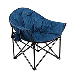 Camping World Reclining Folding Oversized Moon Saucer Chair with Cup Holder for Camping, Hiking – Blue Saucer Support 350 LBS