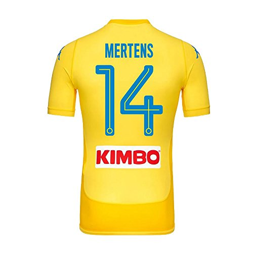 Napoli away Mertens 14 Match Shirt 2017 2018 (fan Style Printing), Uomo, Yellow
