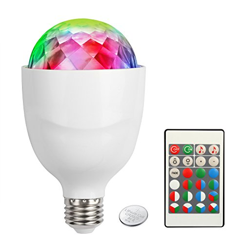 OTTFF Dimmable Water Pipple Effect RGBW E27 Disco Ball Lamps 8W Sound Activated Valentines Day Backdrop LED Party Light Bulb Stage Light Backlight for Family Parties Birthday with Remote