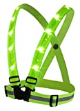lighted vest for running - BOYOVO Reflective Vest for High Visibility All Day and Night with Emergency Identification Label,3 Modes USB Rechargeable LED Light ,Fully Adjustable -- Neon Green