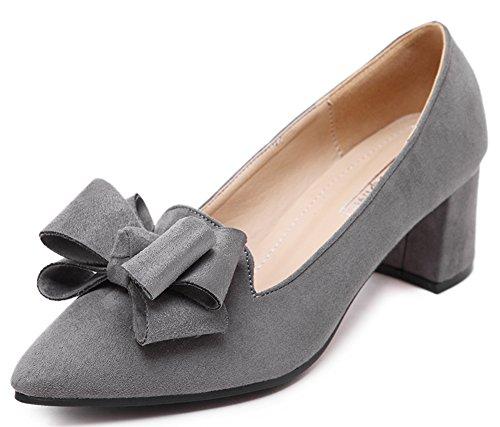 Difyou Femmes Chunky Talon Pompes Daim Bow Chaussures Gris