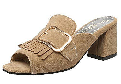 HiEase Women's Sweet Tassels Buckle Mules Slippers Elegant Square Toe Clogs Sandals with Block Heels Size 4-11 Apricot