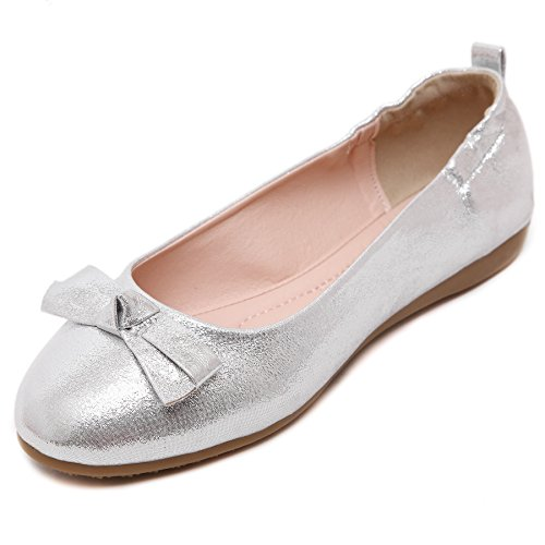 Smilun Lady Ballerina Loafer Flat Twinkling Elastic Heel Cover Bow Tie Silver