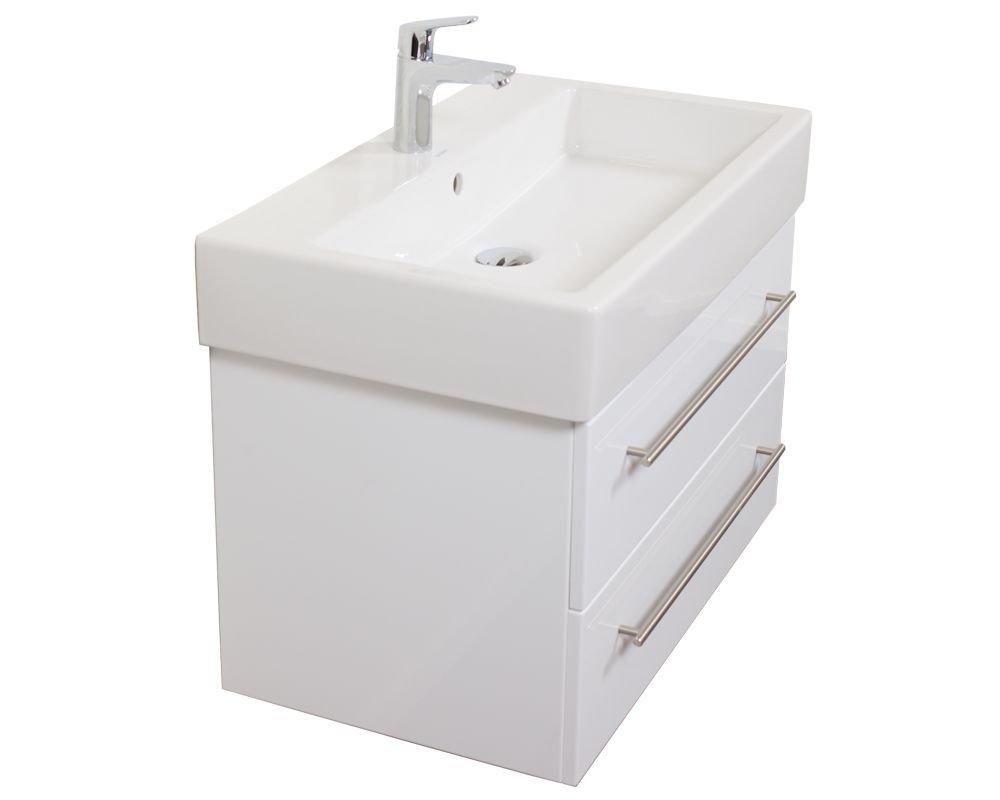 Emotion DURAVITVERO80CM000101DE Waschbecken mit Unterschrank, Holz, weiß hochglanz, 75,1 x 45 x 44,9 cm