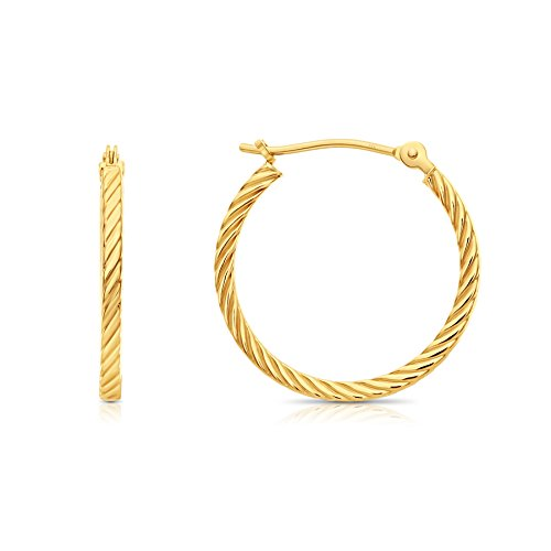 Rope Twisted 14k Gold (14k Yellow Gold Twisted Square Tube Hoop Earrings (20mm - 0.8''))