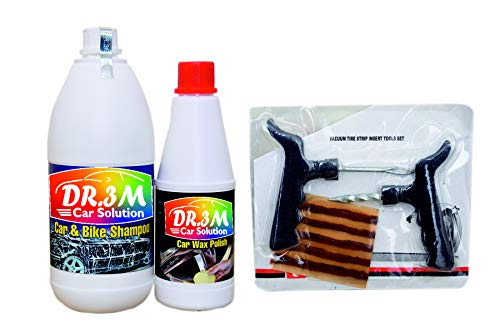 DR3M LBLQQ569 CAR  amp; Bike Shampoo 1ltr. + CAR Wax Polish 500mL. + Panchar kit  Master Combo Pack