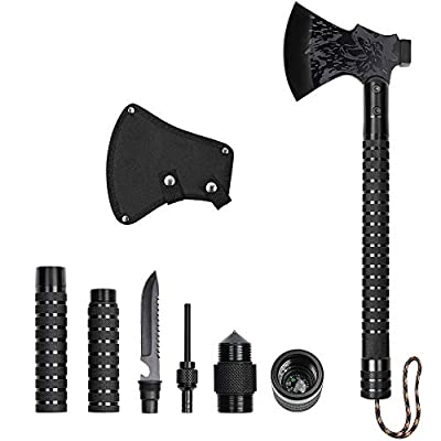 LIANTRAL Camping Axe with Sheath, Outdoor Survival Kit Tactical Hatchet for Hiking, Fishing, Backpacking from LIANTRAL