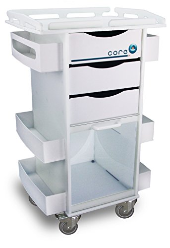 TrippNT 51423 Polyethylene/ABS Core DX Storage Cart with Security-Railed Top, Clear PETG Hinged Door, 23
